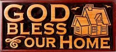 God Bless Our Home Christian plaque wooden 20cm House