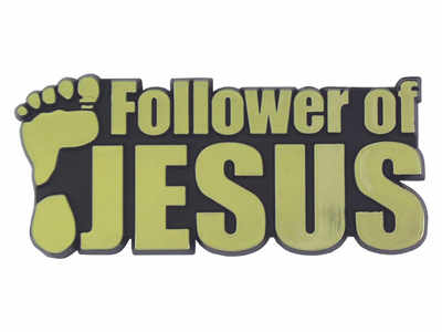 Auto emblem car Follower of Jesus gold sticker plaque