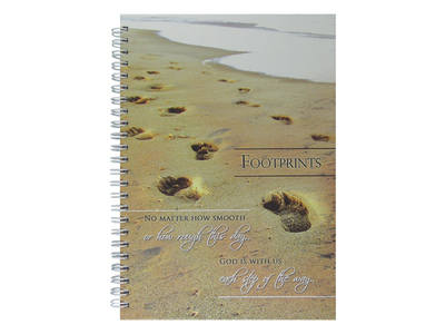Footprints verse beach scene journal notebook gift hard cover