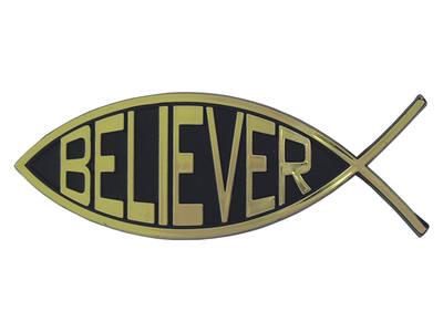Believer Jesus fish auto car gold bumper sticker emblem