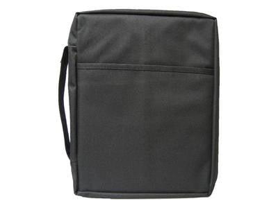 Extra large plain black canvas bible cover 8