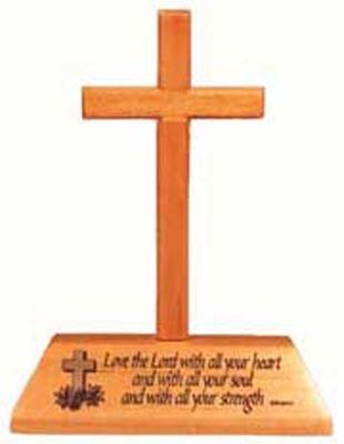 Love the Lord Christian wooden crucifix desktop gift 12.5cm
