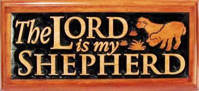 The Lord is my Shepherd Christian plaque wooden 22cm