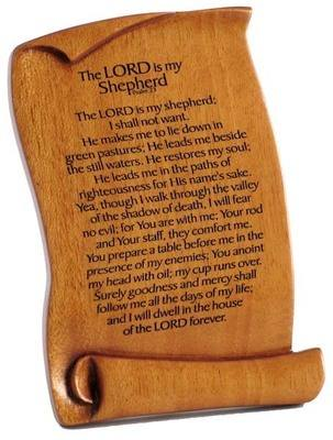 The Lord is my Shepherd Christian scroll plaque wooden 15cm