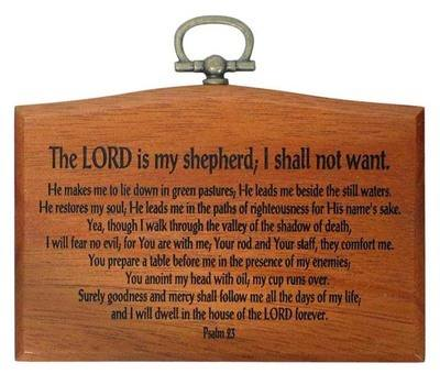 Small The Lord is my Shepherd Christian plaque wooden 9.5cm