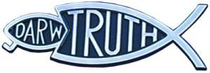 Christian bumper Christian sticker silver Truth fish eating Darwin fish