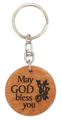 Wooden May God Bless you Christian keyring - rose design