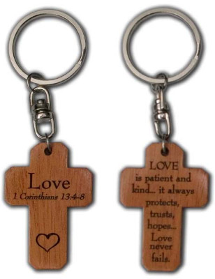 Love 1 Corinthians 13.4-8 brown wooden Christian keyring cross