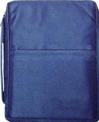Navy blue plain canvas bible cover 10
