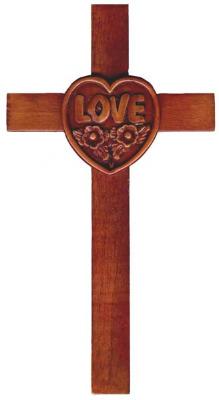20cm wooden mahogany Love Heart wall hanging cross
