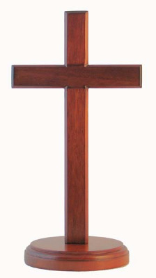 Christian brown wood wooden Cross 20cm standing round base