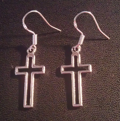 Christian cross dangly drop earrings sterling silver wire