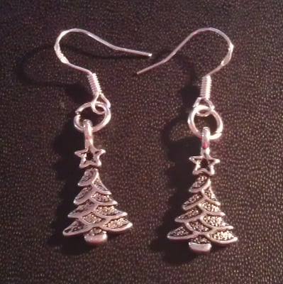 Christmas trees dangly drop earrings sterling silver wire 2cm