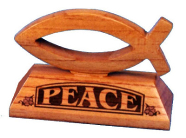 Ichthus fish wood Peace lasered ornament