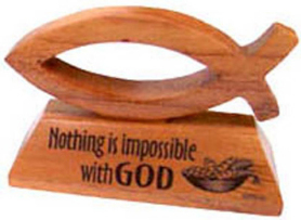 Ichthus fish wood Nothing is impossible with God ornament