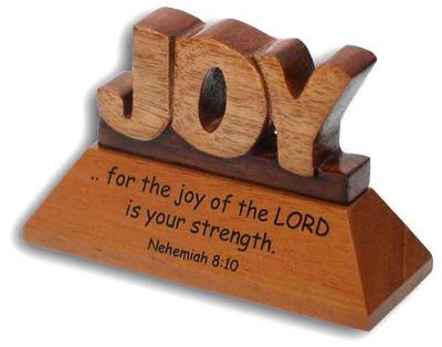 Christian wood mahogany Joy Nehemiah desktop ornament