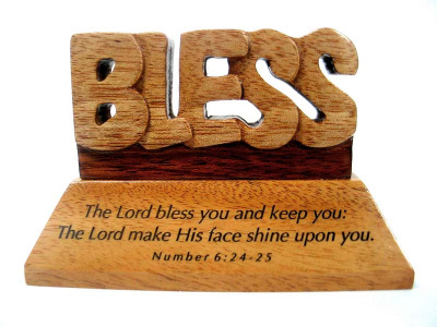 Christian wood mahogany The Lord Bless you desktop ornament