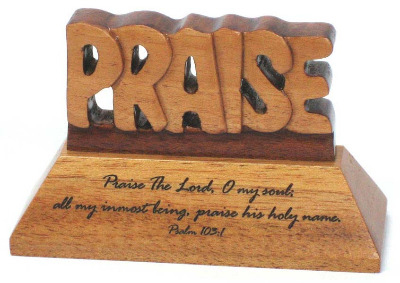 Christian wood mahogany Praise the Lord desktop ornament