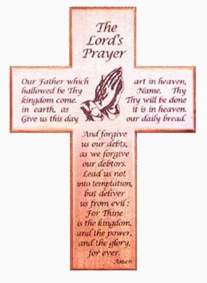 Christian The Lord's Prayer lasered mahogany wooden wall cross