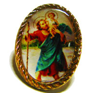 St. Christopher gold pin badge 2.5cm