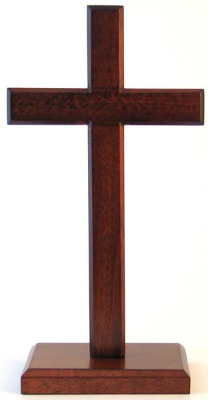 Christian brown wooden standing cross on square base 30cm
