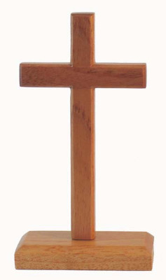 20cm wooden standing cross rectangular base
