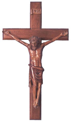 Christian brown wooden Corpus hanging Cross 40cm