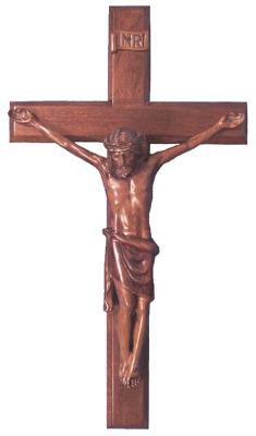 Christian brown wooden Corpus hanging Cross 40cm