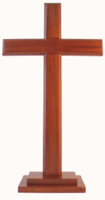 Christian brown wooden standing Cross 40cm stepped base