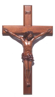 Christian brown wooden Corpus hanging Cross 60cm