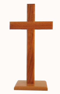 Christian brown wooden standing cross on square base 40cm