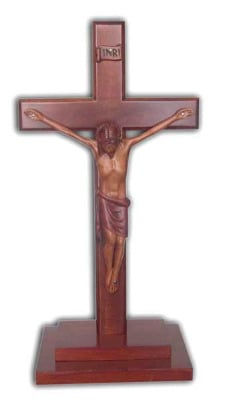 Christian large wooden Corpus standing Cross 30cm stepped base
