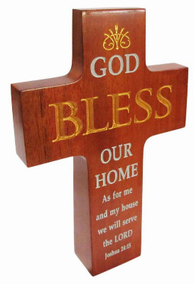 Christian brown wood God Bless Our Home Cross 16cm standing