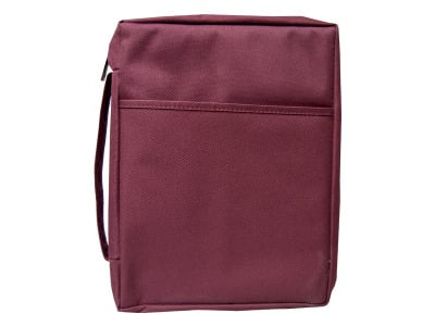 Extra large plain burgundy canvas bible cover 8