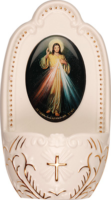 Porcelain Divine Mercy Jesus small Holy water font 5