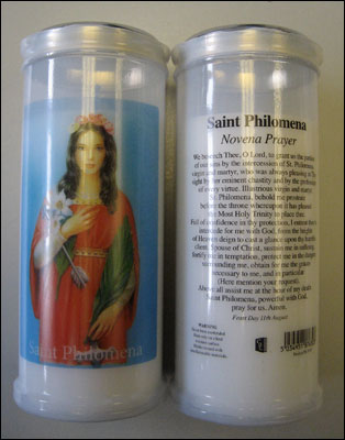 St. Philomena pillar candle 60 hour burn Novena Prayer