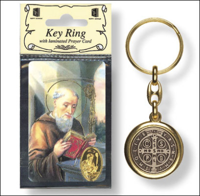 Brass colour metal St. Benedict keyring 8cm Christian gift