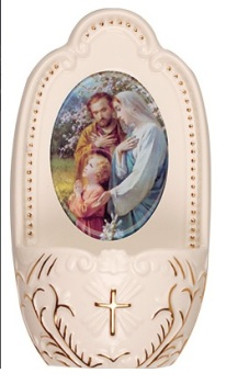 Porcelain Holy Family Jesus small Holy water font 5""
