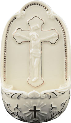 Porcelain white crucifix small Holy water font 5