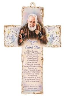 St. Padre Pio 15cm wood cross hanging