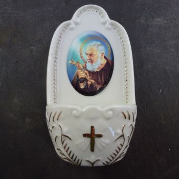 Porcelain St. Padre Pio small Holy water font 5""