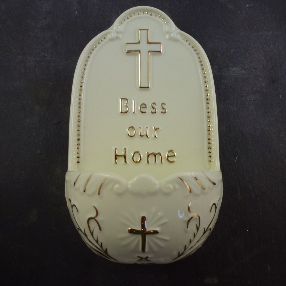 Porcelain Bless Our Home medium Holy water font 7