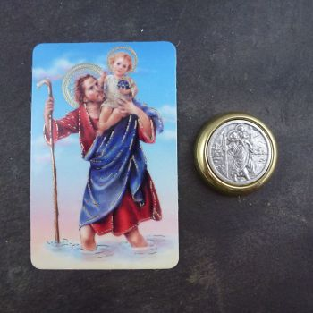 Catholic St. Christopher metal car plaque gift magnet
