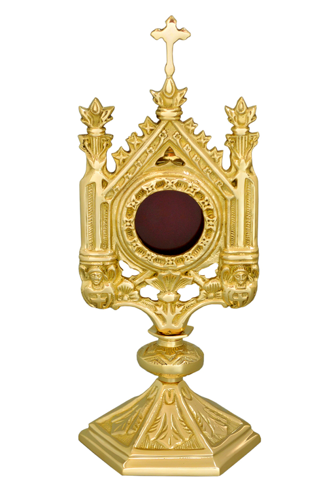 Catholic Monstrance reliquary ostensorium polished brass 12