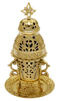 "Church incense burner high quality polished brass 9"" carved"