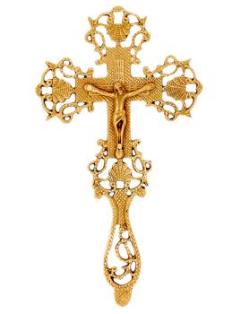 "Catholic crucifix cross high quality polished brass 9"" ornate hanging embossed"