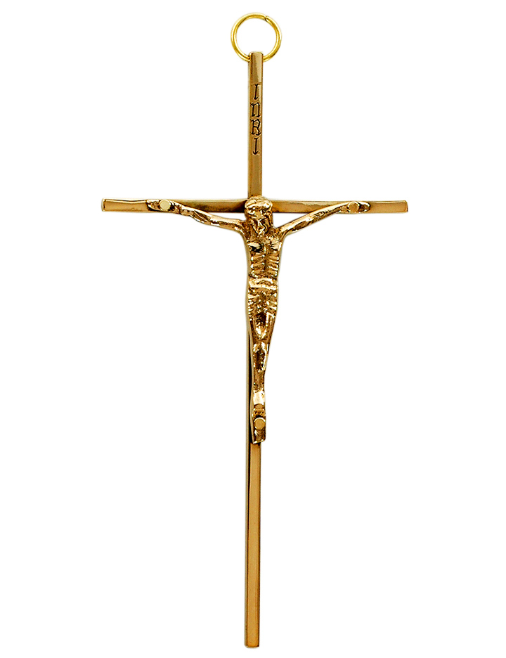 Catholic crucifix cross high quality polished brass 20cm INRI hanging wall