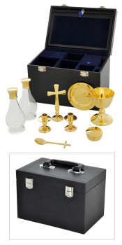 9 piece brass Communion set in box Chalice Paten Glass Cruet + pyx cup cross etc