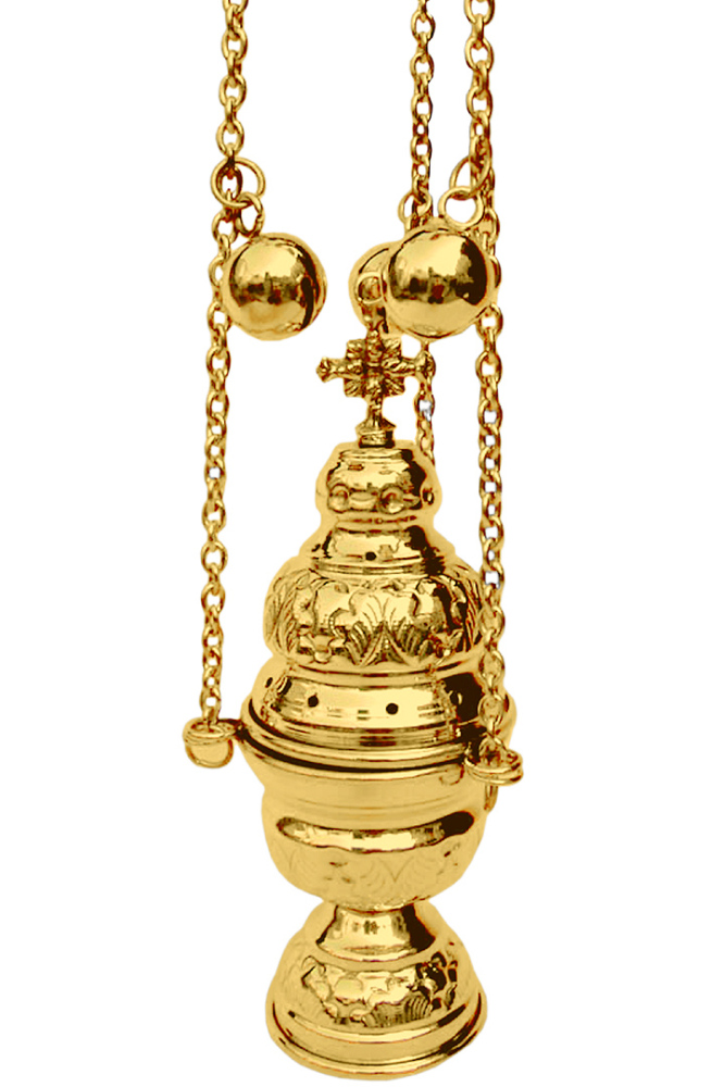 Catholic church censer 12 bells incense burner thurible polished brass 20cm
