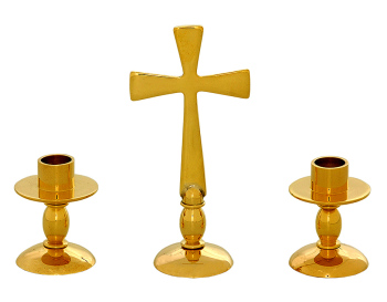 Small Solid polished brass altar set 2 candlestick & 10cm cross church